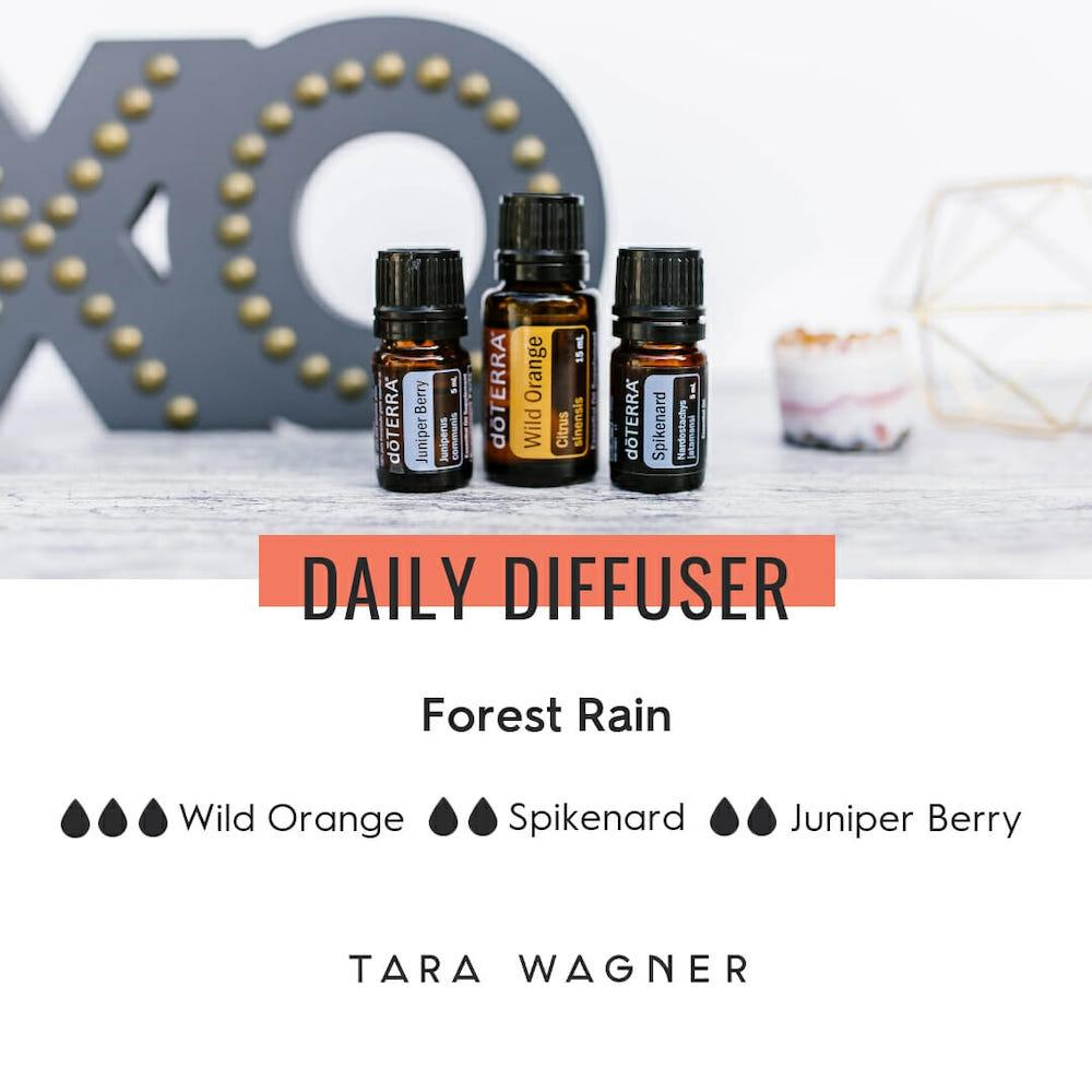 Diffuser recipe called Forest Rain depicting the recipe: 3 drops of wild orange, 2 drops each of spikenard and juniper berry essential oils
