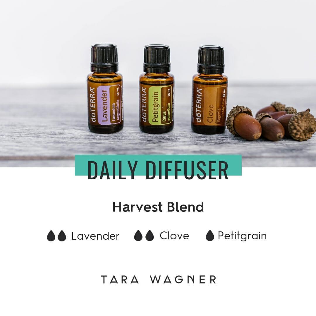 Diffuser recipe called Harvest Blend depicting the recipe: 2 drops each of lavender, clove, and 1 drop petitgrain essential oils