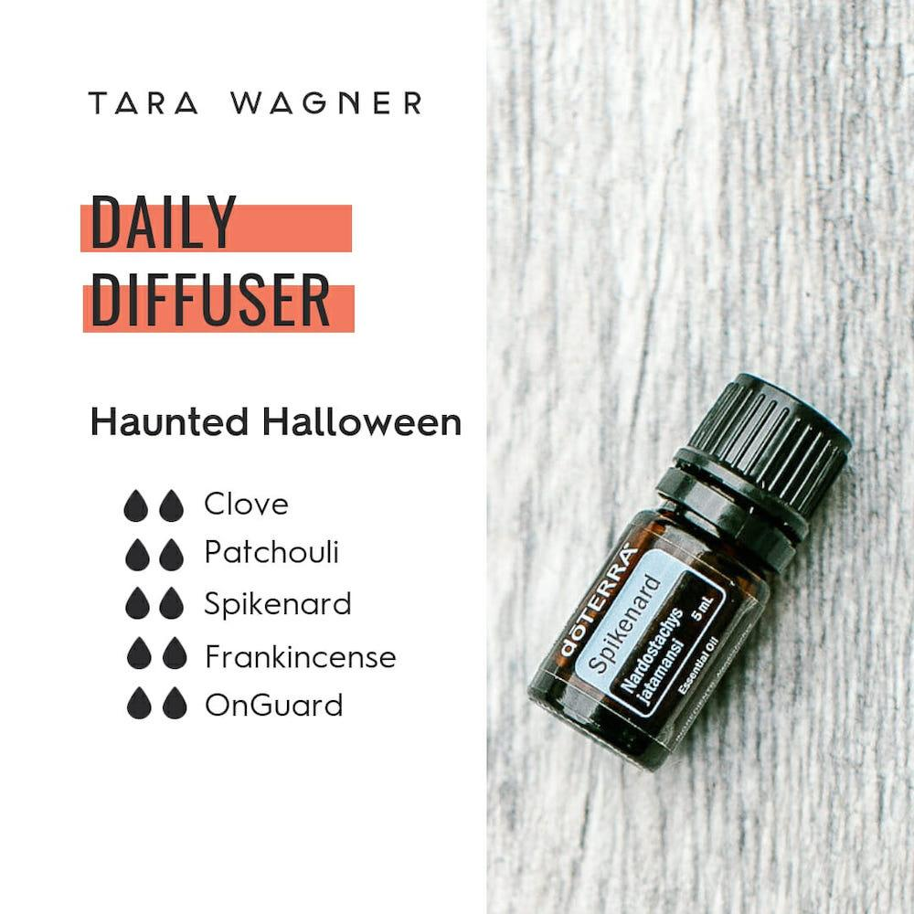 Diffuser recipe called Haunted Halloween depicting the recipe: 2 drops each of clove, patchouli, spikenard, frankincense, and OnGuard essential oils
