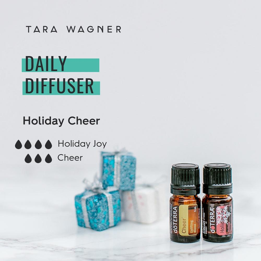Diffuser recipe called Holiday Cheer depicting the recipe: 4 drops holiday joy and 3 drops cheer essential oils