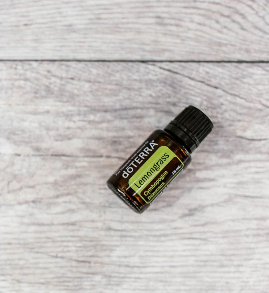 Lemongrass essential oil laid flat