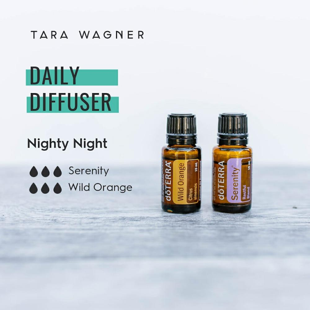 Diffuser recipe called Nighty Night depicting the recipe: 3 drops each of serenity and wild orange essential oils