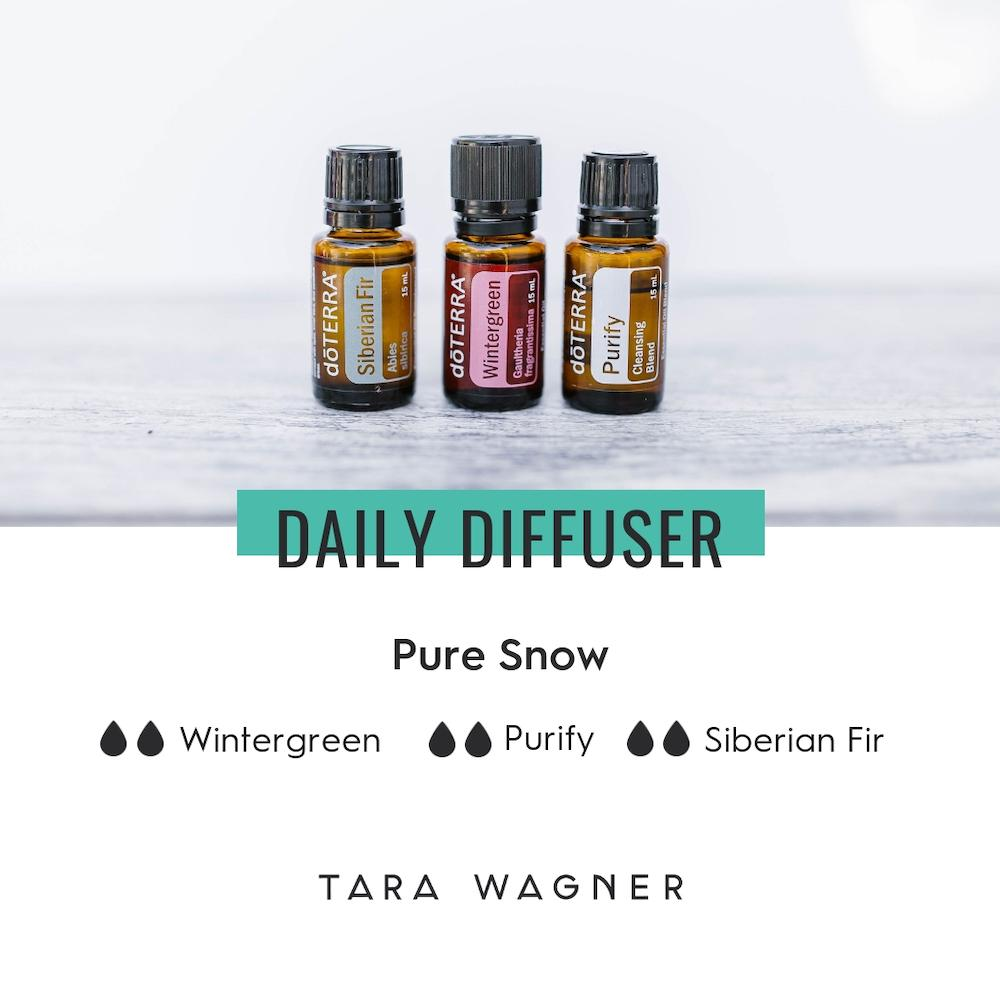 Diffuser recipe called Pure Snow depicting the recipe: 2 drops each of wintergreen, purify, and Siberian fir essential oils
