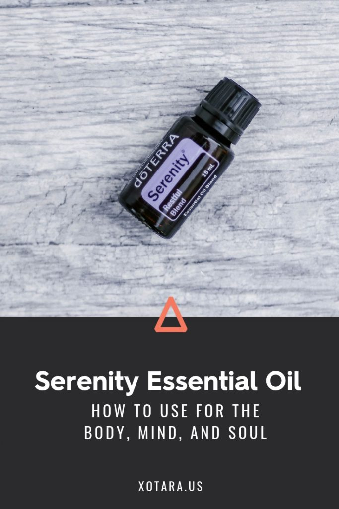 doTERRA Serenity Essential oil bottle with text, How to Use for Body, Mind, and Soul