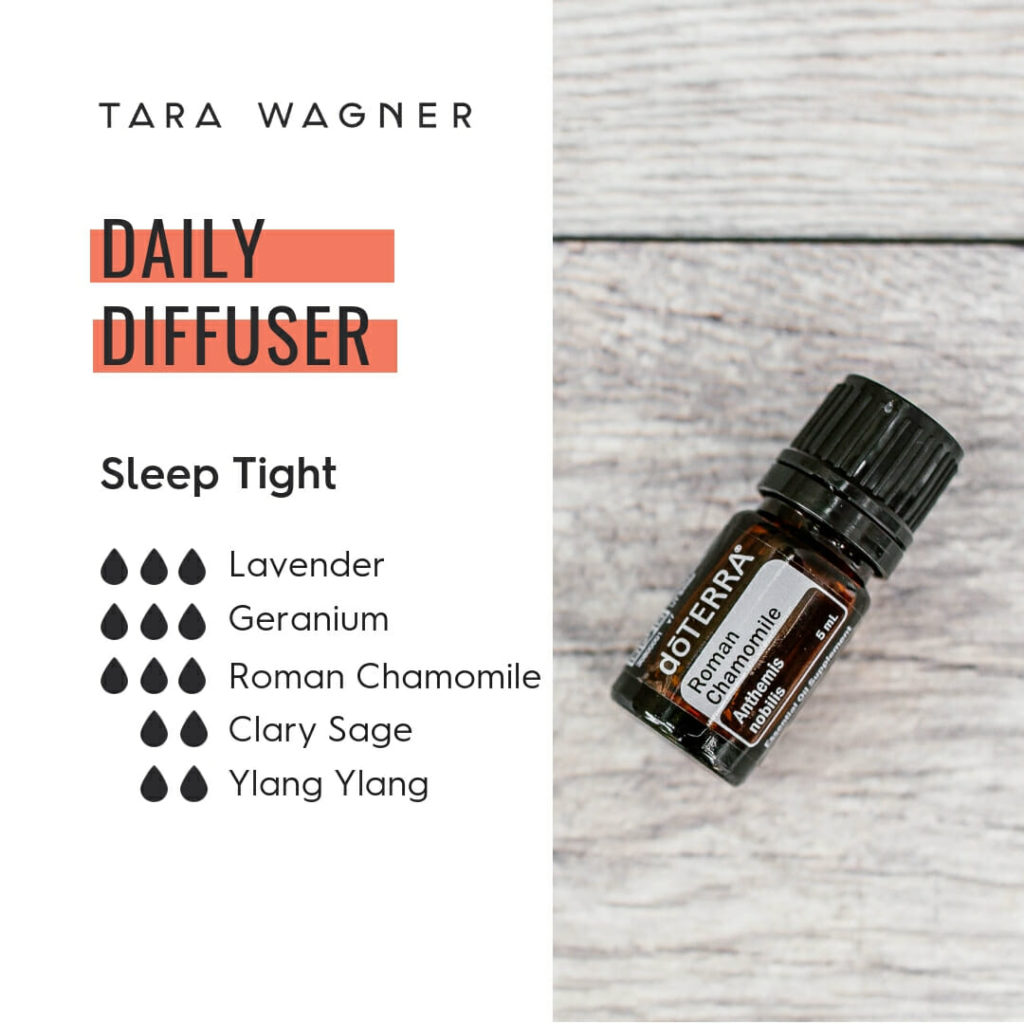 Diffuser recipe called Sleep Tight depicting the recipe: 3 drops each of lavender, geranium, and roman chamomile and 2 drops each of clary sage and ylang ylang essential oils