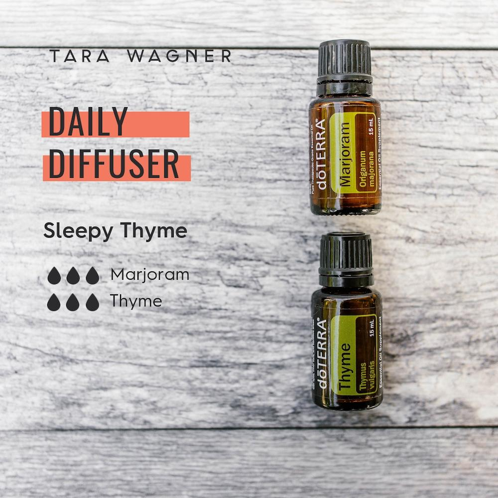 Diffuser recipe called Sleepy Thyme depicting the recipe: 3 drops marjoram and 3 drops of thyme essential oils