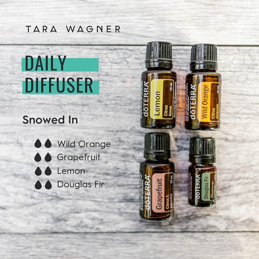 Diffuser recipe called Snowed In depicting the recipe: 2 drops each of wild orange, grapefruit, lemon, and Douglas fir essential oils