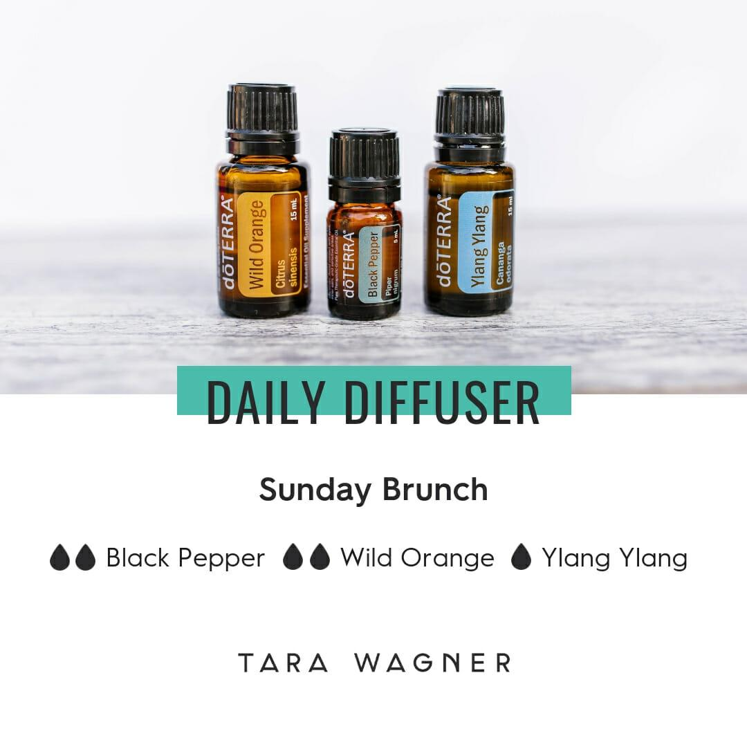 Diffuser recipe called Sunday Brunch depicting the recipe: 2 drops black pepper, 2 drops wild orange, and 1 drop ylang ylang essential oils