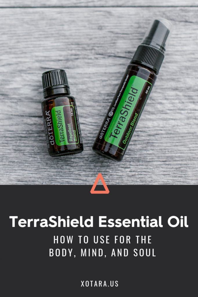 doTERRA TerraShield Essential oil bottle with text, How to Use for Body, Mind, and Soul