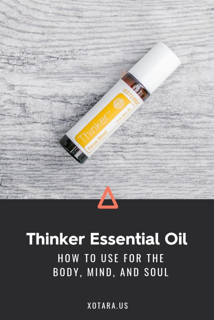 doTERRA Thinker Essential oil bottle with text, How to Use for Body, Mind, and Soul