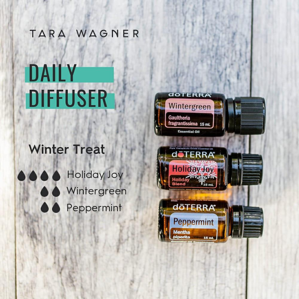 Diffuser recipe called Winter Treat depicting the recipe: 4 drops holiday joy, 2 drops wintergreen, and 2 drops peppermint essential oils