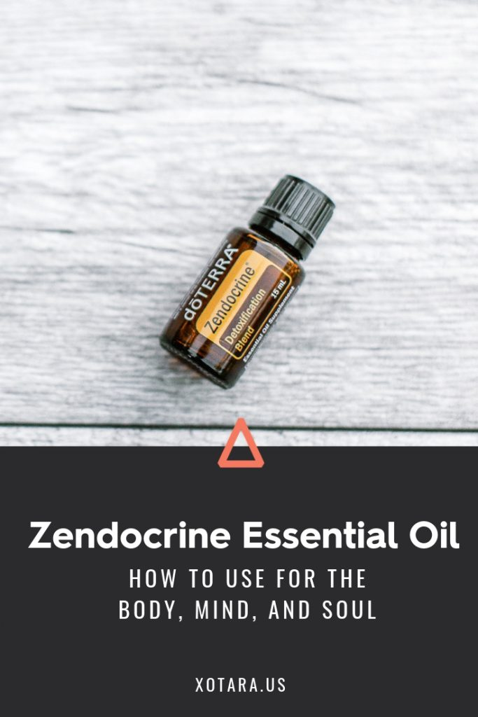 doTERRA Zendocrine Essential oil bottle with text, How to Use for Body, Mind, and Soul