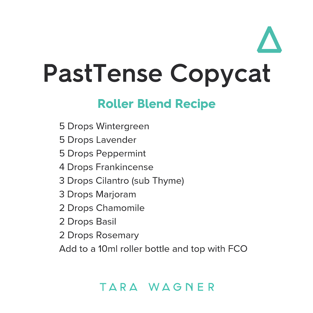 Roller bottle recipe for Past Tense copycat blend depicting the recipe: 5 drops Wintergreen • 5 drops Lavender • 5 drops Peppermint • 4 drops Frankincense • 3 drops Cilantro (or Thyme) • 3 drops Marjoram • 2 drops Chamomile • 2 drops Basil • 2 drops Rosemary essential oils added to a 10ml roller bottle and topped with fractionated coconut oil