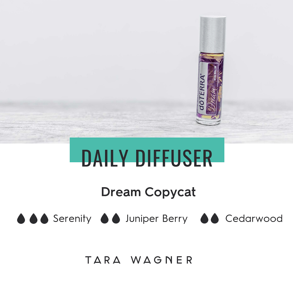 Diffuser recipe for doTERRA Dream copycat blend depicting the recipe: 3 drops Serenity blend, 2 drops juniper berry essential oil and 2 drops cedarwood essential oils