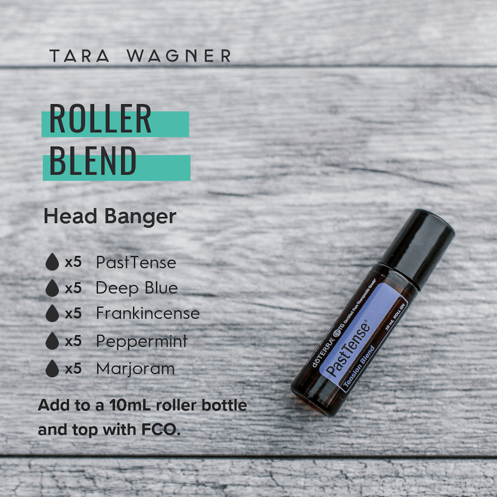 Roller bottle recipe entitled Head Banger depicting the recipe: 5 drops each of Past Tense, Deep Blue, Frankincense, Peppermint, and Marjoram essential oils added to a 10ml roller bottle and topped with fractionated coconut oil