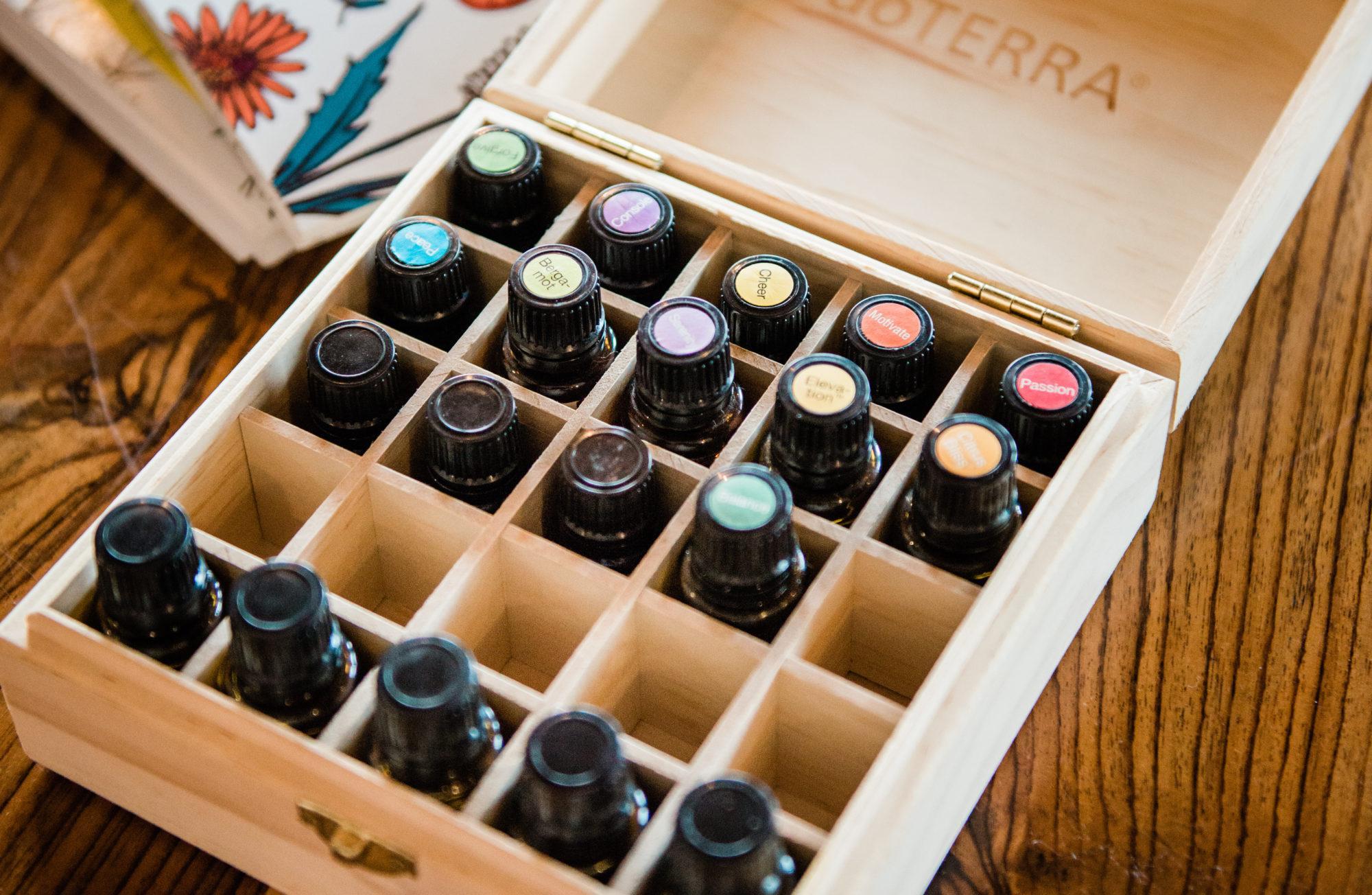 doTerra wood box box of organized oils