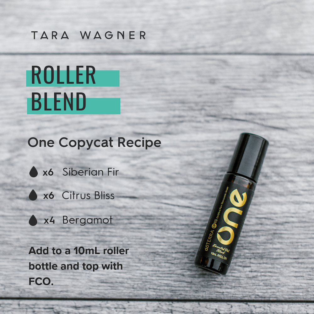 Copycat recipe for doTERRA's Limited Time One Blend depicting the recipe: 6 drops Siberian Fir, 6 drops Citrus Bliss, and 4 drops Bergamot added to a 10ml roller and topped with fractionated coconut oil