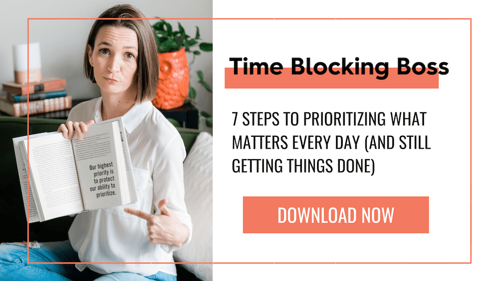 Tara Wagner holding a book with text that reads, Time Blocking Boss: 7 steps to prioritizing what matters every day and still getting things done