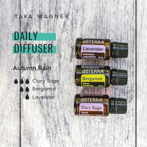 Diffuser recipe called Autumn Rain depicting the recipe: 3 drops clarysage, 2 drops bergamot, and 1 drop lavender essential oils