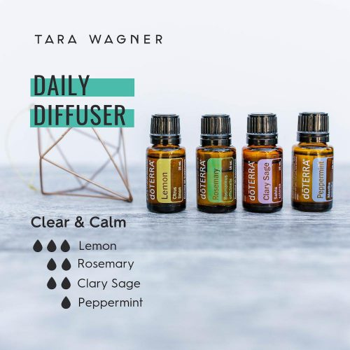 Diffuser recipe called Clear & Calm depicting the recipe: 3 drops lemon, 2 drops rosemary, 2 drops clary sage, and 1 drop peppermint essential oils