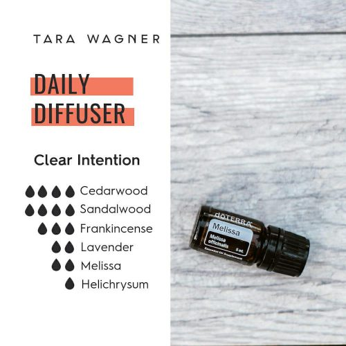 Diffuser recipe called Clear Intention depicting the recipe: 4 drops cedarwood, 4 drops sandalwood, 3 drops frankincense, 2 drops lavender, 2 drops Melissa, and 1 drop helichrysum essential oils