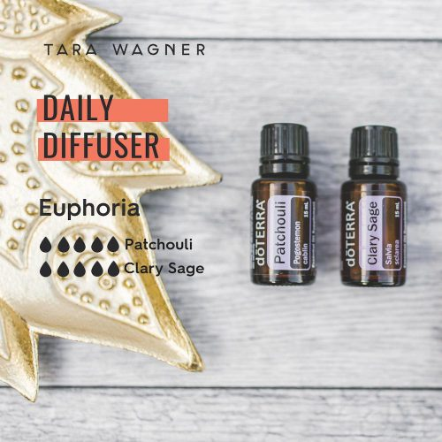 Diffuser recipe called Euphoria depicting the recipe: 5 drops each f patchouli and clary sage essential oils