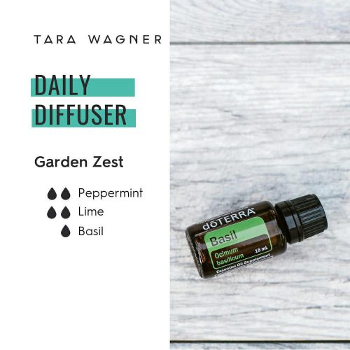 Diffuser recipe called Garden Zest depicting the recipe: 2 drops each of peppermint and lime, and 1 drop of basil essential oils