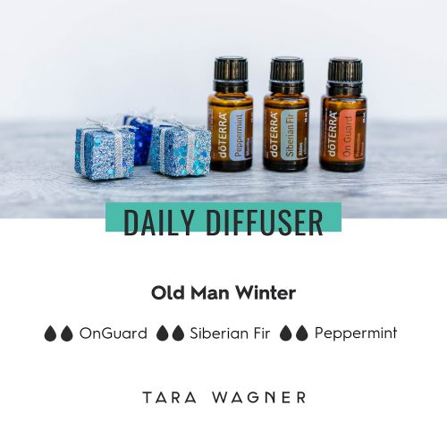 Diffuser recipe called Old Man Winter depicting the recipe: 2 drops each of on guard, Siberian fir, and peppermint essential oils