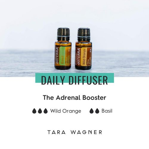 Diffuser recipe called The Adrenal Booster depicting the recipe: 3 drops wild orange and 2 drops basil essential oils