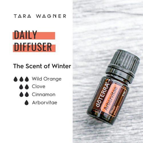 Diffuser recipe called The Scent of Winter depicting the recipe: 3 drops wild orange, 2 drops clove, 2 drops cinnamon, 1 drop arborvitae essential oils