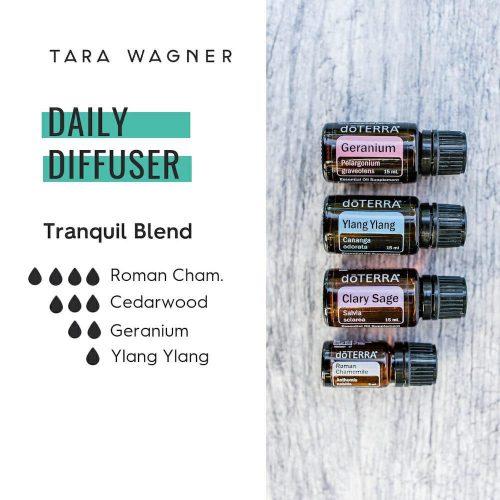 Diffuser recipe called Tranquil Blend depicting the recipe: 4 drops roman chamomile, 3 drops cedarwood, 2 drops geranium, 1 drop ylang ylang essential oils