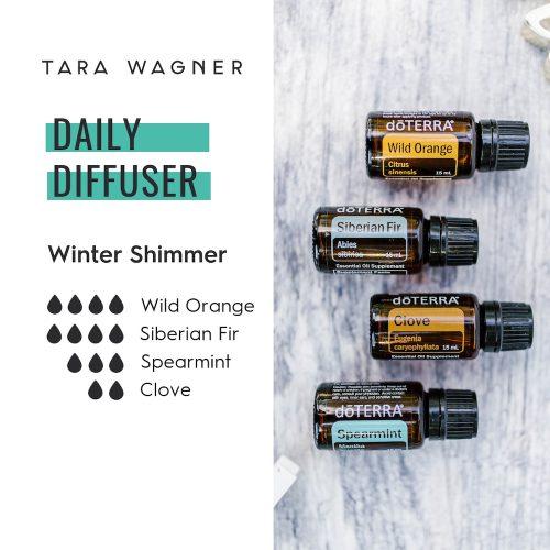 Diffuser recipe called Winter Shimmer depicting the recipe: 4 drops wild orange, 4 drops Siberian fir, 3 drops spearmint, and 2 drops clove essential oils