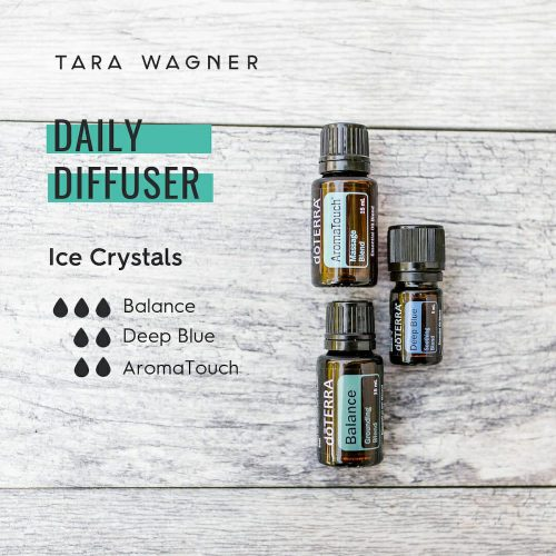 Diffuser recipe called Ice Crystals depicting the recipe: 3 drops balance, 2 drops deep blue, and 2 drops aroma touch essential oils