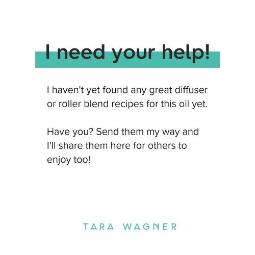 Image text reads: I need your help! I haven't yet found any great diffuser or roller blend recipes for this oil yet. Have you? Send them my way and I'll share them here for others to enjoy too!