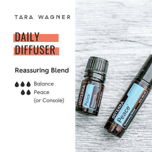 Diffuser recipe called Reassuring Blend depicting the recipe: 3 drops Balance and 2 drops peace or console essential oils