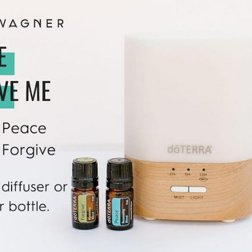 Diffuser recipe called Please Forgive Me depicting the recipe: 4 drops Peace blend, 4 drops Forgive added to diffuser or 10m roller bottle