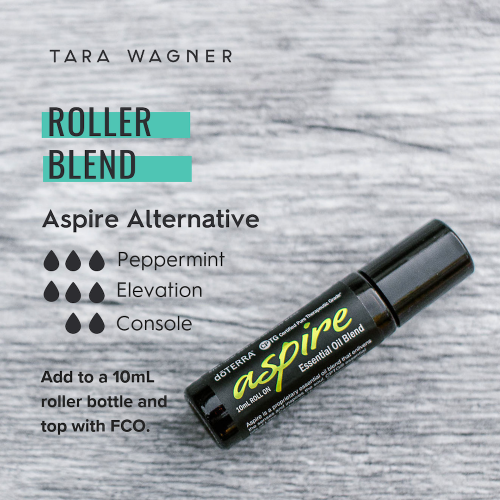 Alternative roller bottle essential oil recipe for doTERRA Aspire blend depicting 3 drops peppermint, 3 drops elevation, and 2 drops console added to a 10ml roller bottle and topped with fractionated coconut oil